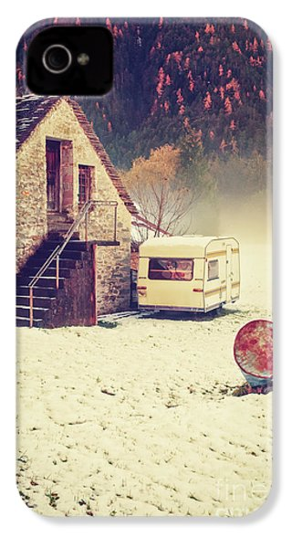Caravan In The Snow With House And Wood IPhone 4s Case by Silvia Ganora