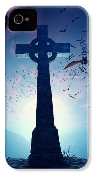 Celtic Cross With Swarm Of Bats IPhone 4s Case by Johan Swanepoel