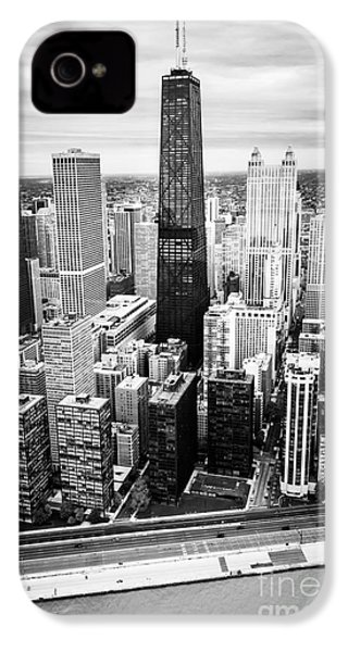 Chicago Aerial With Hancock Building In Black And White IPhone 4s Case by Paul Velgos