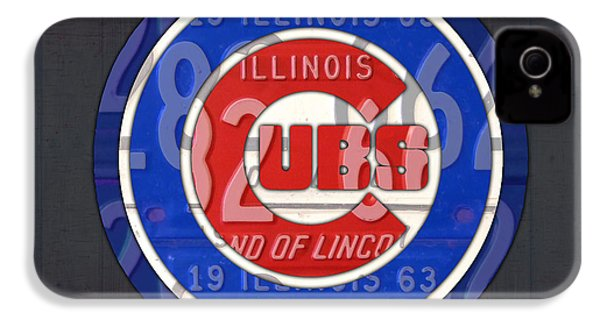 Chicago Cubs Baseball Team Retro Vintage Logo License Plate Art IPhone 4s Case by Design Turnpike