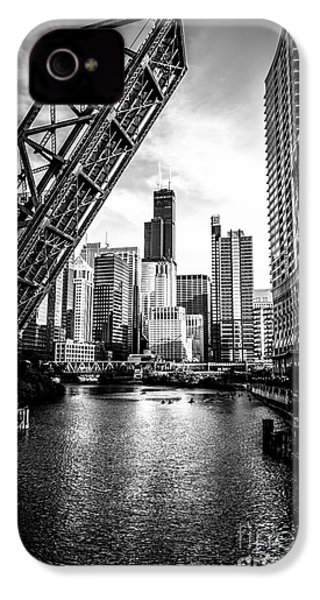 Chicago Kinzie Street Bridge Black And White Picture IPhone 4s Case by Paul Velgos