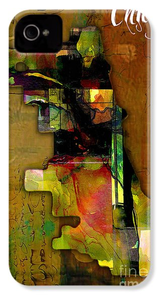 Chicago Map Watercolor IPhone 4s Case by Marvin Blaine