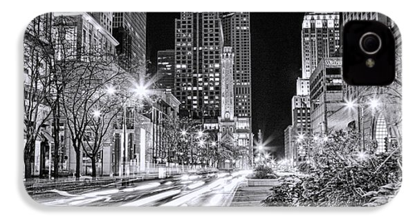 Chicago Michigan Avenue Light Streak Black And White IPhone 4s Case by Christopher Arndt