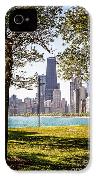 Chicago Skyline And Hancock Building Through Trees IPhone 4s Case by Paul Velgos