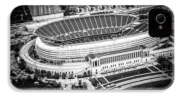 Chicago Soldier Field Aerial Picture In Black And White IPhone 4s Case by Paul Velgos