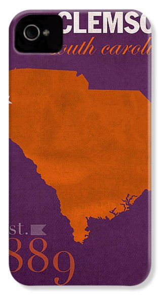 Clemson University Tigers College Town South Carolina State Map Poster Series No 030 IPhone 4s Case by Design Turnpike