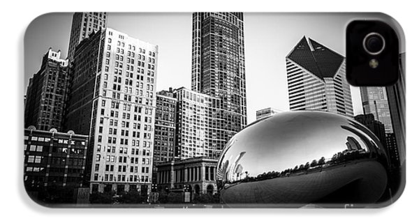 Cloud Gate Bean Chicago Skyline In Black And White IPhone 4s Case by Paul Velgos