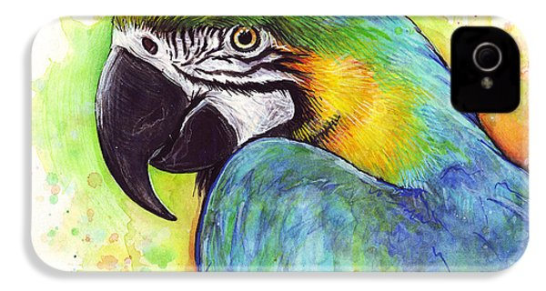 Macaw Watercolor IPhone 4s Case by Olga Shvartsur