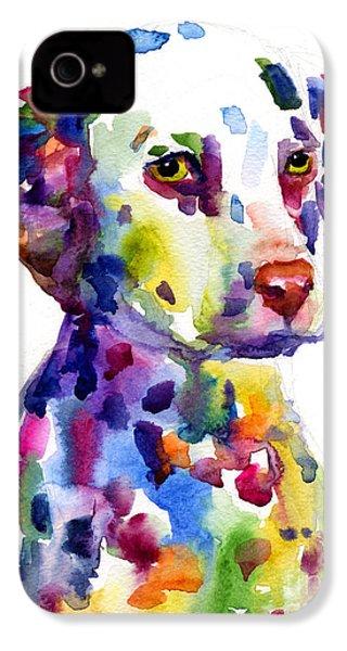 Colorful Dalmatian Puppy Dog Portrait Art IPhone 4s Case by Svetlana Novikova