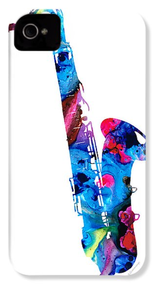 Colorful Saxophone 2 By Sharon Cummings IPhone 4s Case by Sharon Cummings