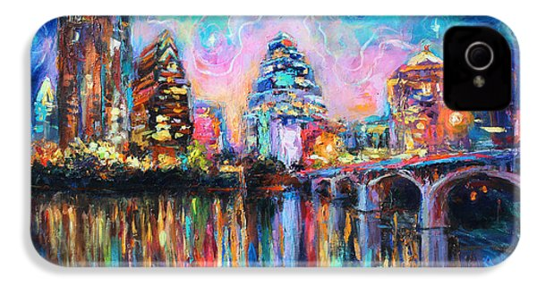 Contemporary Downtown Austin Art Painting Night Skyline Cityscape Painting Texas IPhone 4s Case by Svetlana Novikova