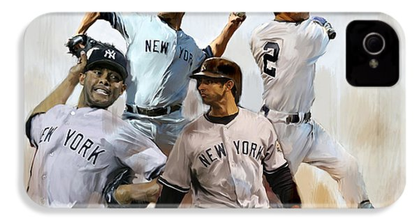 Core  Derek Jeter Mariano Rivera  Andy Pettitte Jorge Posada IPhone 4s Case by Iconic Images Art Gallery David Pucciarelli