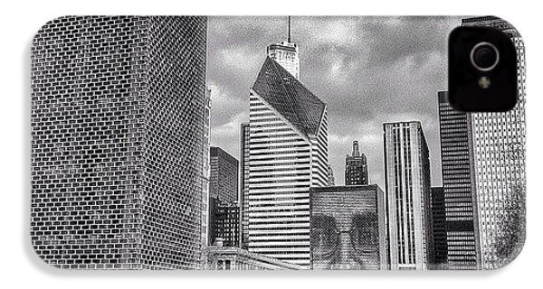 Chicago Crown Fountain Black And White Photo IPhone 4s Case by Paul Velgos