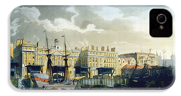 Custom House From The River Thames IPhone 4s Case by T. & Pugin, A.C. Rowlandson