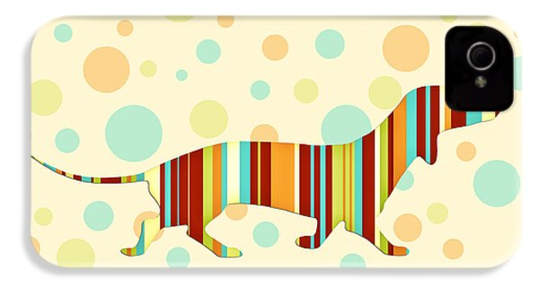 Dachshund Fun Colorful Abstract IPhone 4s Case by Natalie Kinnear