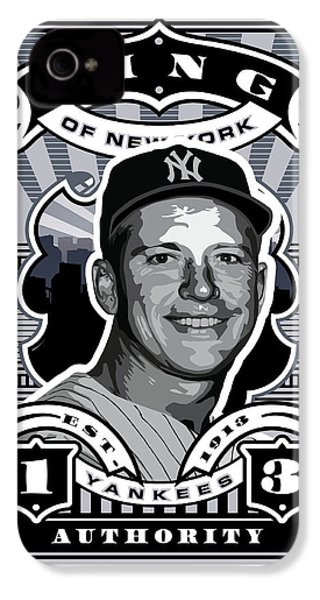 Dcla Mickey Mantle Kings Of New York Stamp Artwork IPhone 4s Case by David Cook Los Angeles