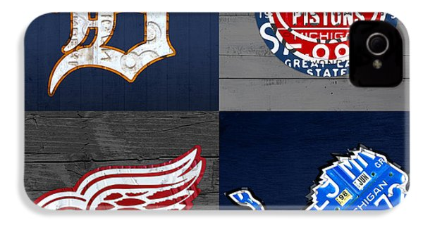 Detroit Sports Fan Recycled Vintage Michigan License Plate Art Tigers Pistons Red Wings Lions IPhone 4s Case