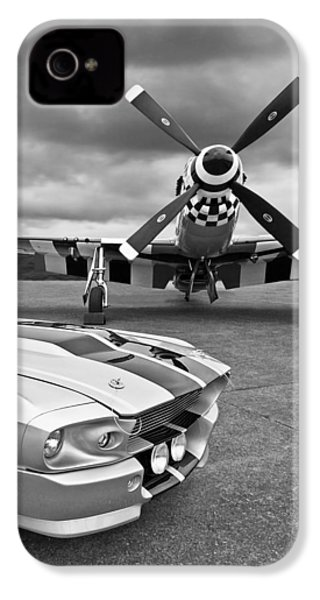Eleanor Mustang With P51 Black And White IPhone 4s Case by Gill Billington