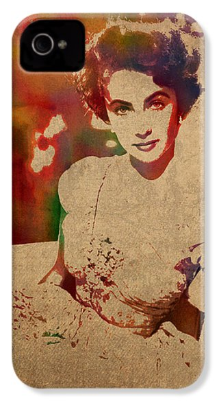 Elizabeth Taylor Watercolor Portrait On Worn Distressed Canvas IPhone 4s Case by Design Turnpike