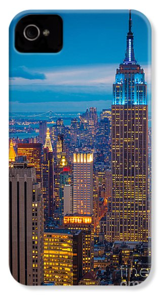 Empire State Blue Night IPhone 4s Case by Inge Johnsson