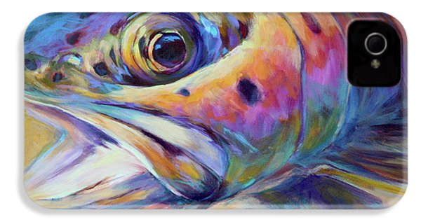 Face Of A Rainbow- Rainbow Trout Portrait IPhone 4s Case by Savlen Art