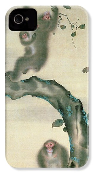 Family Of Monkeys In A Tree IPhone 4s Case by Japanese School