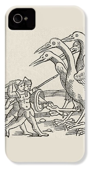 Fight Between Pygmies And Cranes. A Story From Greek Mythology IPhone 4s Case by English School