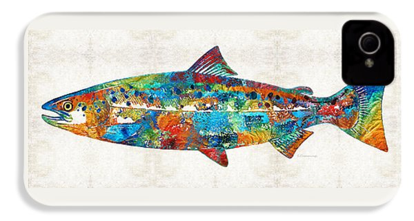 Fish Art Print - Colorful Salmon - By Sharon Cummings IPhone 4s Case by Sharon Cummings