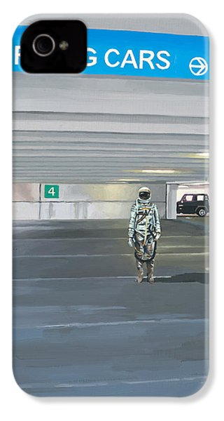 IPhone 4s Case featuring the painting Flying Cars To The Right by Scott Listfield