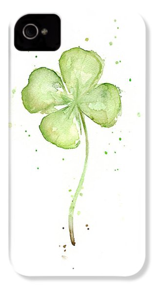 Four Leaf Clover Lucky Charm IPhone 4s Case by Olga Shvartsur