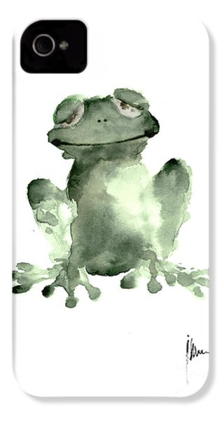 Frog Painting Watercolor Art Print Green Frog Large Poster IPhone 4s Case by Joanna Szmerdt