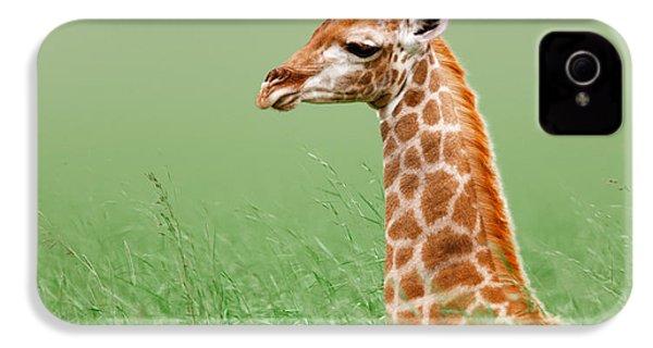 Giraffe Lying In Grass IPhone 4s Case by Johan Swanepoel