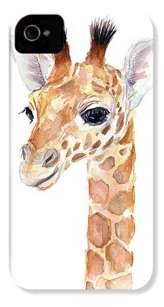 Giraffe Watercolor IPhone 4s Case by Olga Shvartsur