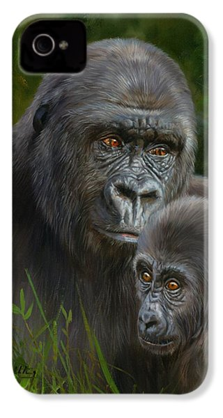 Gorilla And Baby IPhone 4s Case by David Stribbling