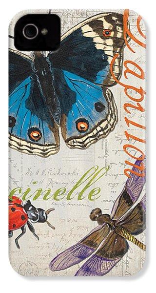 Grey Postcard Butterflies 4 IPhone 4s Case by Debbie DeWitt