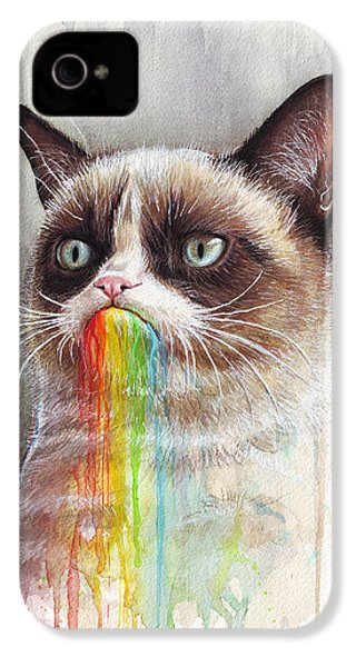 Grumpy Cat Tastes The Rainbow IPhone 4s Case by Olga Shvartsur