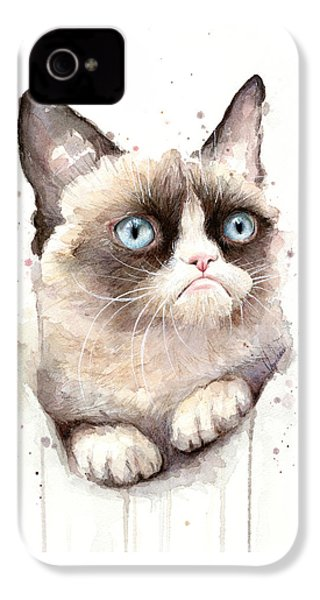 Grumpy Cat Watercolor IPhone 4s Case by Olga Shvartsur