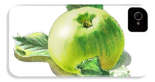 IPhone 4s Case featuring the painting Happy Green Apple by Irina Sztukowski