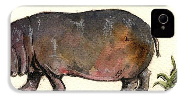Hippo IPhone 4s Case by Juan  Bosco