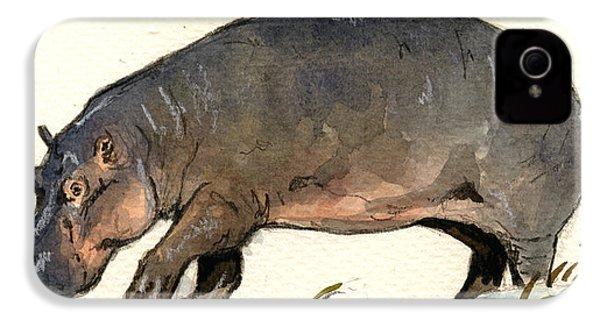 Hippo Walk IPhone 4s Case by Juan  Bosco
