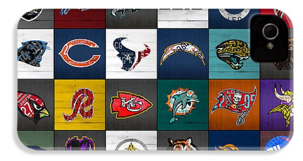 Hit The Gridiron Football League Retro Team Logos Recycled Vintage License Plate Art IPhone 4s Case by Design Turnpike