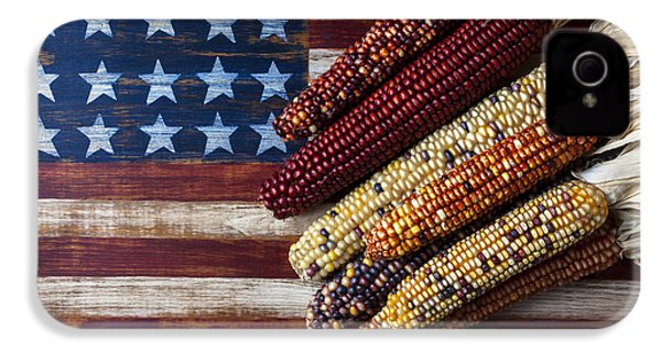 Indian Corn On American Flag IPhone 4s Case by Garry Gay