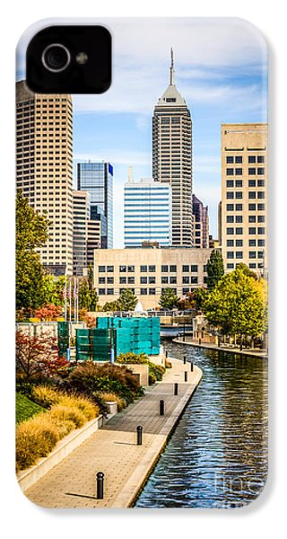Indianapolis Skyline Picture Of Canal Walk In Autumn IPhone 4s Case by Paul Velgos