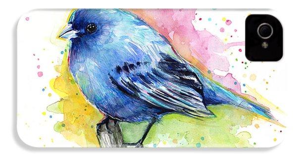 Indigo Bunting Blue Bird Watercolor IPhone 4s Case by Olga Shvartsur