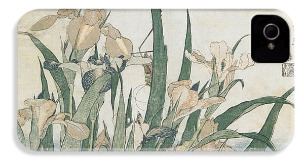 Iris Flowers And Grasshopper IPhone 4s Case by Hokusai