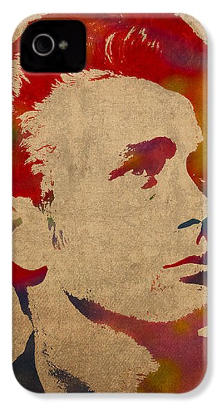 James Dean Watercolor Portrait On Worn Distressed Canvas IPhone 4s Case by Design Turnpike