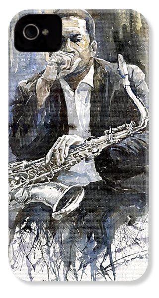 Jazz Saxophonist John Coltrane Yellow IPhone 4s Case by Yuriy  Shevchuk