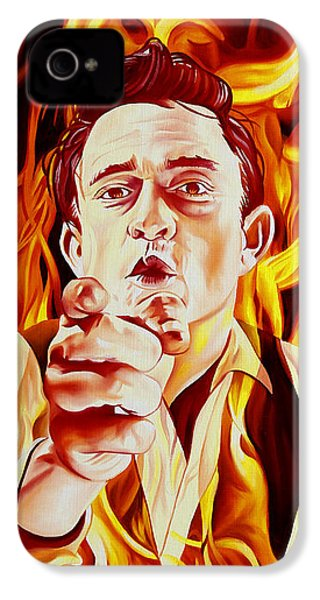 Johnny Cash And It Burns IPhone 4s Case by Joshua Morton