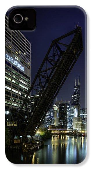 Kinzie Street Railroad Bridge At Night IPhone 4s Case by Sebastian Musial