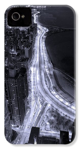 Lake Shore Drive Aerial  B And  W IPhone 4s Case by Steve Gadomski
